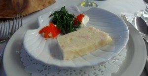 Lobster pate´with sea asparagus and roe started off the feast